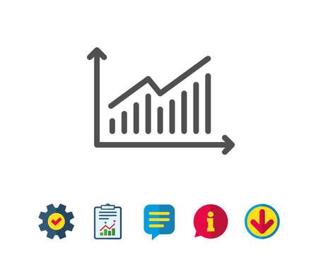 차트 라인 아이콘입니다. 보고서 그래프 또는 판매 성장 기호. 분석 및 통계 데이터 기호입니다. 보고, 서비스 및 정보 라인 표지판. 다운로드, 연설 거