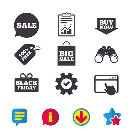 Sale speech bubble icons. Buy now arrow symbols. Black friday gift box signs. Big sale shopping bag. Browser window, Report and Service signs. Binoculars, Information and Download icons. Vector Stock Vector - 81743544