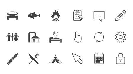 Hiking travel icons. Camping, shower and wc toilet signs. Tourist tent, fork and knife symbols. Chat, Report and Calendar line signs. Service, Pencil and Locker icons. Click, Rotation and Cursor