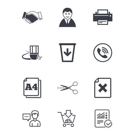 オフィス、ドキュメント、ビジネス アイコン。プリンター、ハンドシェイクと電話の兆候。ボスは、ごみ箱と消しゴムのシンボル。顧客サービス、