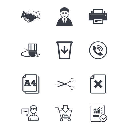 Office, documents and business icons. Printer, handshake and phone signs. Boss, recycle bin and eraser symbols. Customer service, Shopping cart and Report line signs. Online shopping and Statistics