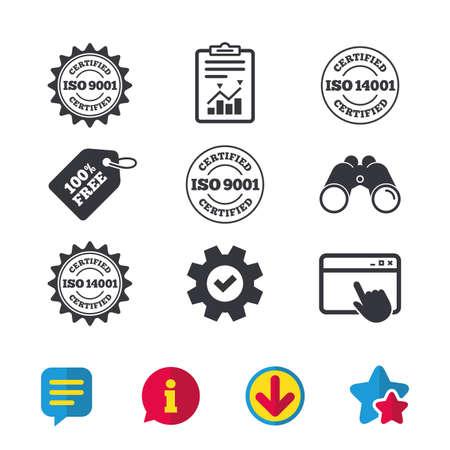 ISO 9001 및 14001 인증 아이콘. 인증 스타 스탬프를 사용합니다. 품질 표준 표지판. 브라우저 창, 보고서 및 서비스 표지판. 쌍안경, 정보 및 다운로드 아이