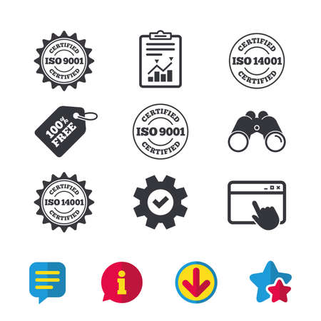 ISO 9001 and 14001 certified icons. Certification star stamps symbols. Quality standard signs. Browser window, Report and Service signs. Binoculars, Information and Download icons. Stars and Chat
