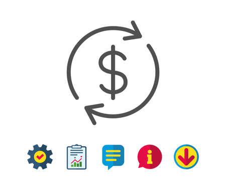 Currency exchange line icon. Money Transfer sign. Dollar in rotation arrow symbol. Report, Service and Information line signs. Download, Speech bubble icons. Editable stroke. Vector Illustration