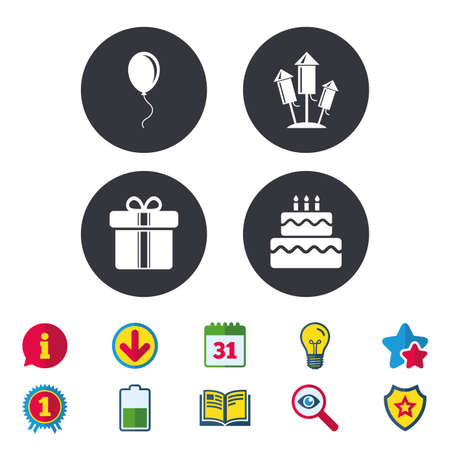 burning: Birthday party icons. Cake and gift box signs. Air balloons and fireworks rockets symbol. Calendar, Information and Download signs. Stars, Award and Book icons. Light bulb, Shield and Search. Vector Illustration