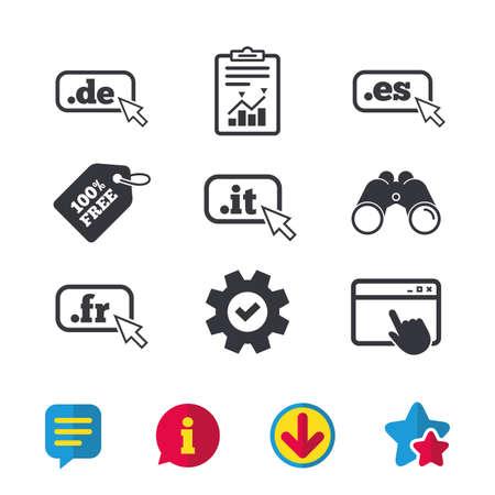 Top-level internet domein pictogrammen. De, It, Es en Fr symbolen met cursoraanwijzer. Unieke nationale DNS-namen. Browservenster, rapport en serviceborden. Verrekijker, informatie en download pictogrammen. Vector