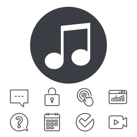 Music note sign icon. Musical symbol. Calendar, Locker and Speech bubble line signs. Video camera, Statistics and Question icons. Vector