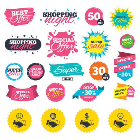 Sale shopping banners. Handshake icons. World, Smile happy face and house building symbol. Dollar cash money. Amicable agreement. Web badges, splash and stickers. Best offer. Vector 向量圖像