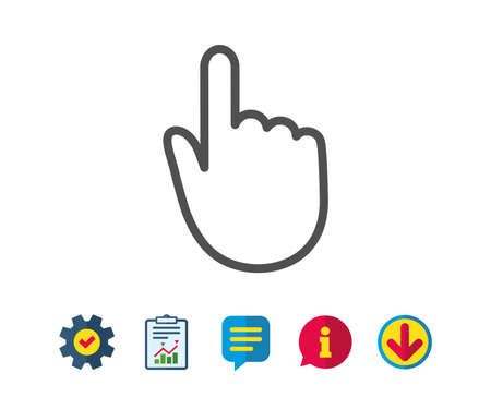 Hand Click line icon. Finger touch sign. Cursor pointer symbol. Report, Service and Information line signs. Download, Speech bubble icons. Editable stroke. Vector Ilustração