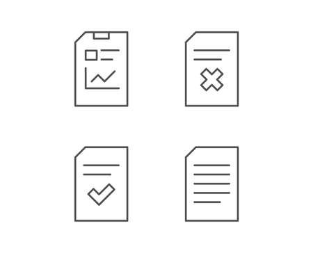 文書、レポート、チェックリストの線アイコン。ドキュメント管理、削除および統計記号。品質デザイン要素です。編集可能なストローク。ベクト