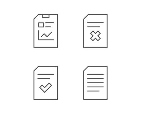 Document, Report and Checklist line icons. Document Management, Delete and Statistics signs. Quality design elements. Editable stroke. Vector Illustration