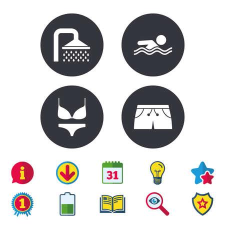 Zwembad pictogrammen. Douche waterdruppels en badmode symbolen. Menselijke zwemt in zee golven ondertekenen. Trunks en damesondergoed. Kalender, informatie en downloadborden. Pictogrammen voor sterren, awards en boeken. Vector