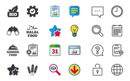 Natural Bio food icons. Halal and 100% Kosher signs. Gluten free agricultural symbol. Chat, Report and Calendar signs. Stars, Statistics and Download icons. Question, Clock and Globe. Vector