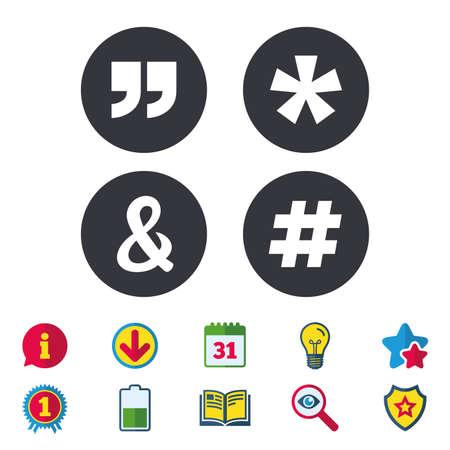 引用、脚注アイコンをアスタリスクします。ハッシュタグ ソーシャル メディア、アンパサンド記号。プログラミング論理演算子と記号です。カレン