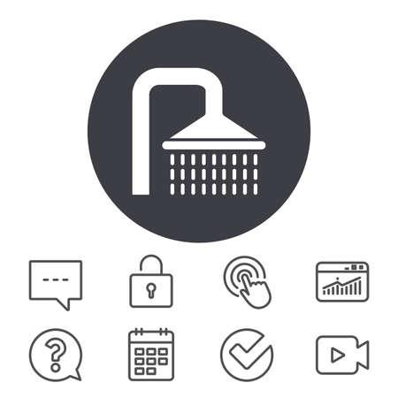 シャワー記号アイコン。水の潅水は、シンボルを削除します。予定表、ロッカーおよび音声のバブル線標識。ビデオカメラ、統計情報や質問のアイ
