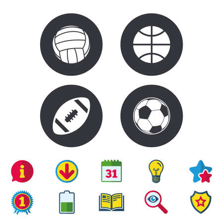 Sport balls icons. Volleyball, Basketball, Soccer and American football signs. Team sport games. Calendar, Information and Download signs. Stars, Award and Book icons. Light bulb, Shield and Search