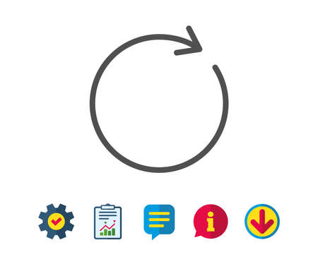Refresh line icon. Rotation arrow sign. Reset or Reload symbol. Report, Service and Information line signs. Download, Speech bubble icons. Editable stroke. Vector Фото со стока - 81743939
