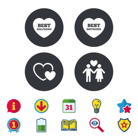 Valentine day love icons. Best girlfriend and boyfriend symbol. Couple lovers sign. Calendar, Information and Download signs. Stars, Award and Book icons. Light bulb, Shield and Search. Vector Illustration