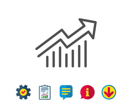Chart line icon. Report graph or Sales growth sign. Analysis and Statistics data symbol. Report, Service and Information line signs. Download, Speech bubble icons. Editable stroke. Vector Ilustração