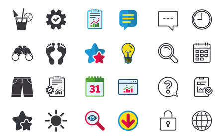Beach holidays icons. Cocktail, human footprints and swimming trunks signs. Summer sun symbol. Chat, Report and Calendar signs. Stars, Statistics and Download icons. Question, Clock and Globe. Vector