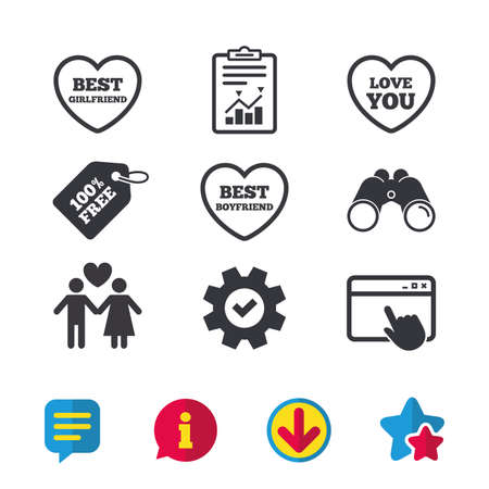 Valentine day love icons. Best girlfriend and boyfriend symbol. Couple lovers sign. Browser window, Report and Service signs. Binoculars, Information and Download icons. Stars and Chat. Vector Illustration