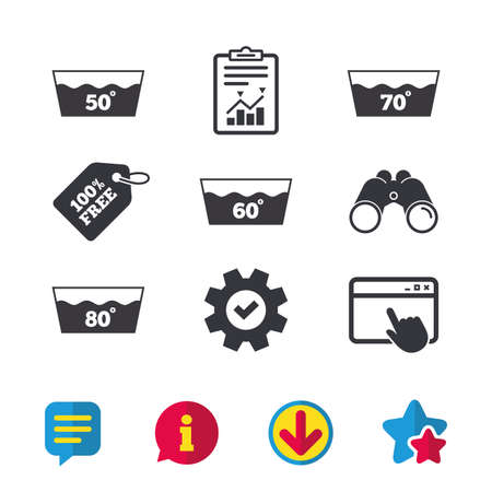 Wash icons. Machine washable at 50, 60, 70 and 80 degrees symbols. Laundry washhouse signs. Browser window, Report and Service signs. Binoculars, Information and Download icons. Stars and Chat. Vector Illustration