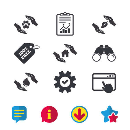 Hands insurance icons. Shelter for pets dogs symbol. Save water drop symbol. House property insurance sign. Browser window, Report and Service signs. Binoculars, Information and Download icons Illustration