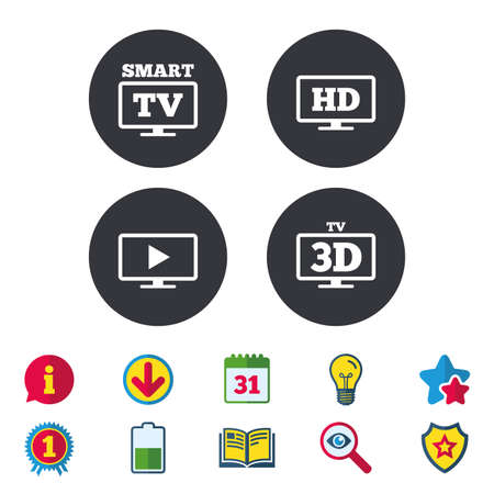 Smart TV mode icon. Widescreen symbol. High-definition resolution. 3D Television sign. Calendar, Information and Download signs. Stars, Award and Book icons. Light bulb, Shield and Search. Vector Illustration