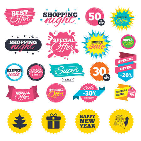 Sale shopping banners. Happy new year icon. Christmas tree and gift box signs. Fireworks rocket symbol. Web badges, splash and stickers. Best offer. Vector