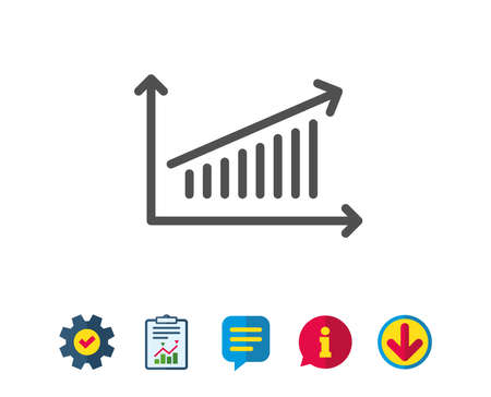 Chart line icon. Report graph or Sales growth sign. Analysis and Statistics data symbol. Report, Service and Information line signs. Download, Speech bubble icons. Editable stroke. Vector Illusztráció