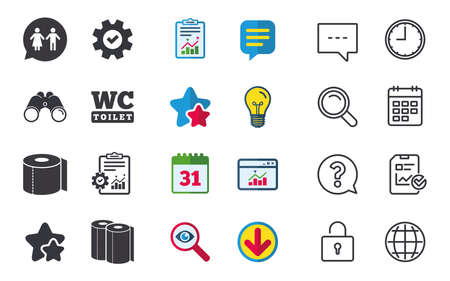 Toilet paper icons. Gents and ladies room signs. Paper towel or kitchen roll. Man and woman symbols. Chat, Report and Calendar signs. Stars, Statistics and Download icons. Question, Clock and Globe Illustration