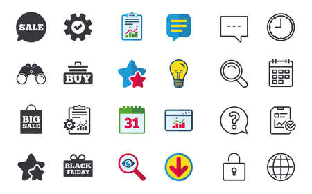 Sale speech bubble icons. Buy cart symbols. Black friday gift box signs. Big sale shopping bag. Chat, Report and Calendar signs. Stars, Statistics and Download icons. Question, Clock and Globe. Vector Illustration