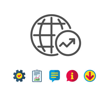 세계 통계 라인 아이콘입니다. 차트 또는 매출 성장 사인을보고하십시오. 데이터 분석 그래프 기호입니다. 보고, 서비스 및 정보 라인 표지판. 다운로 일러스트
