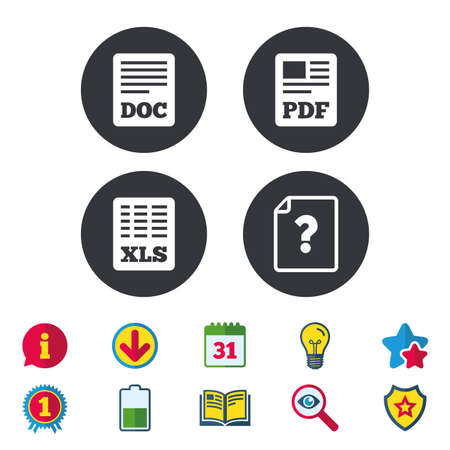 File document and question icons. XLS, PDF and DOC file symbols. Download or save doc signs. Calendar, Information and Download signs. Stars, Award and Book icons. Light bulb, Shield and Search