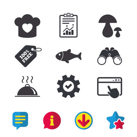 Chief hat with heart and cooking pan icons. Fish and boletus mushrooms signs. Hot food platter serving symbol. Browser window, Report and Service signs. Binoculars, Information and Download icons