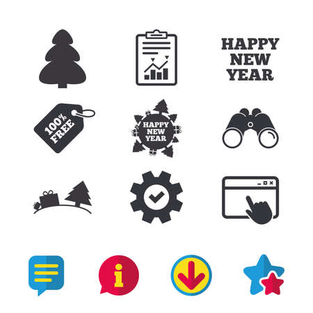 tree world tree service: Happy new year icon. Christmas trees signs. World globe symbol. Browser window, Report and Service signs. Binoculars, Information and Download icons. Stars and Chat. Vector Illustration