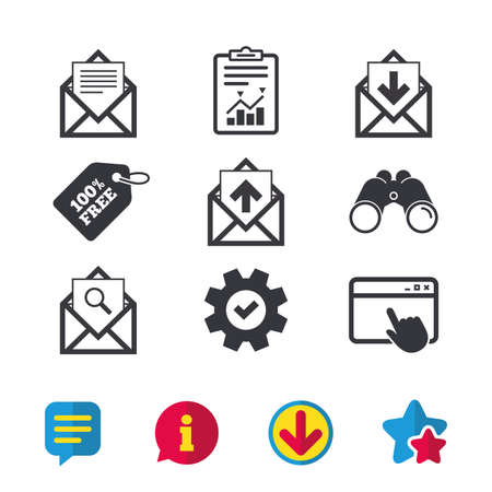 Mail envelope icons. Find message document symbol. Post office letter signs. Inbox and outbox message icons. Browser window, Report and Service signs. Binoculars, Information and Download icons