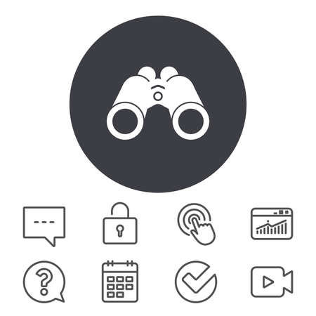 Binoculars icon. Find software sign. Spy equipment symbol. Calendar, Locker and Speech bubble line signs. Video camera, Statistics and Question icons. Vector Stok Fotoğraf - 81771628