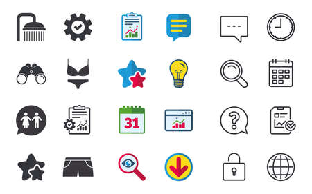 Swimming pool icons. Shower water drops and swimwear symbols. WC Toilet speech bubble sign. Trunks and women underwear. Chat, Report and Calendar signs. Stars, Statistics and Download icons. Vector