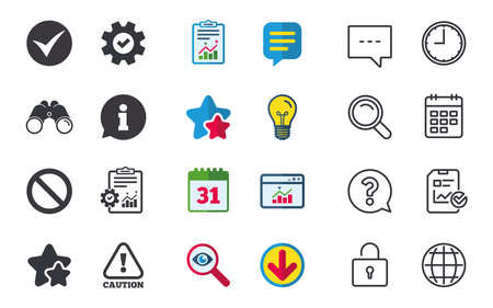 hazard sign: Information icons. Stop prohibition and attention caution signs. Approved check mark symbol. Chat, Report and Calendar signs. Stars, Statistics and Download icons. Question, Clock and Globe. Vector