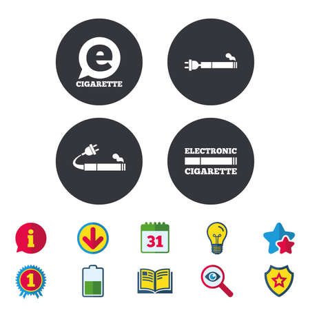 E-Cigarette with plug icons. Electronic smoking symbols. Speech bubble sign. Calendar, Information and Download signs. Stars, Award and Book icons. Light bulb, Shield and Search. Vector Illustration
