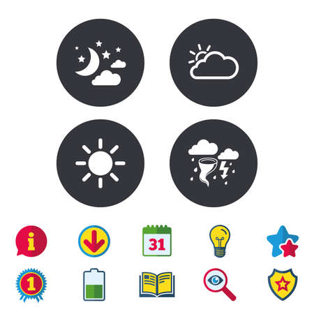 Weather icons. Moon and stars night. Cloud and sun signs. Storm or thunderstorm with lightning symbol. Calendar, Information and Download signs. Stars, Award and Book icons. Vector Illustration