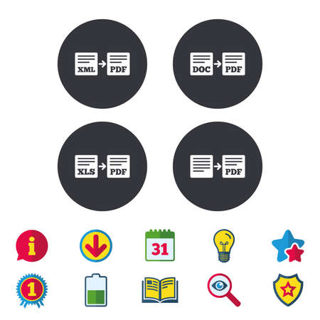 Export file icons. Convert DOC to PDF, XML to PDF symbols. XLS to PDF with arrow sign. Calendar, Information and Download signs. Stars, Award and Book icons. Light bulb, Shield and Search. Vector