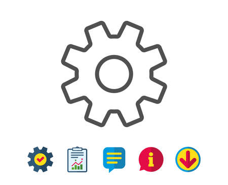Cogwheel line icon. Service sign. Transmission Rotation Mechanism symbol. Report, Service and Information line signs. Download, Speech bubble icons. Editable stroke. Vector Illustration