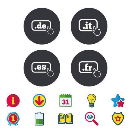 Top-level internet domeinnamen. De, Het, Es en Fr symbolen met handaanwijzer. Unieke nationale DNS-namen. Kalender, Informatie en Download tekens. Sterren, Award en Book iconen. Vector