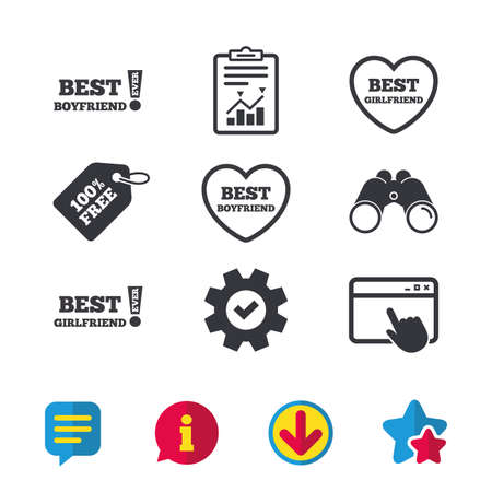 Best boyfriend and girlfriend icons. Heart love signs. Awards with exclamation symbol. Browser window, Report and Service signs. Binoculars, Information and Download icons. Stars and Chat. Vector Illustration