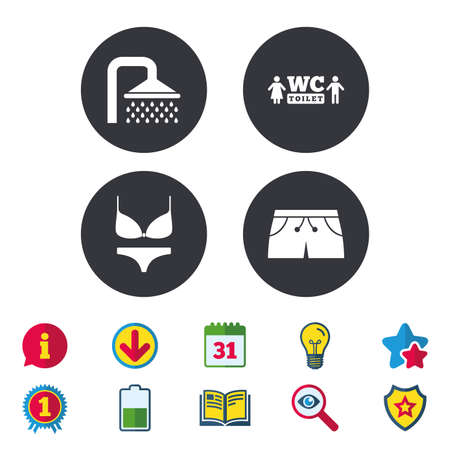 Swimming pool icons. Shower water drops and swimwear symbols. WC Toilet sign. Trunks and women underwear. Calendar, Information and Download signs. Stars, Award and Book icons. Vector