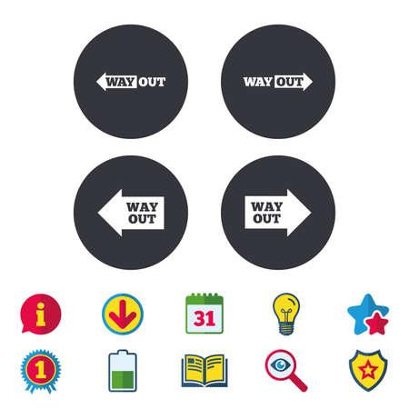 웨이 밖으로 아이콘. 왼쪽 및 오른쪽 화살표 기호. 지하철에서 방향 표지판. 달력, 정보 및 다운로드 표지판. 별, 수상 및 책 아이콘. 전구, 방패 및 수색