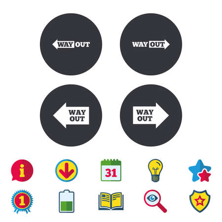 Way out icons. Left and right arrows symbols. Direction signs in the subway. Calendar, Information and Download signs. Stars, Award and Book icons. Light bulb, Shield and Search. Vector