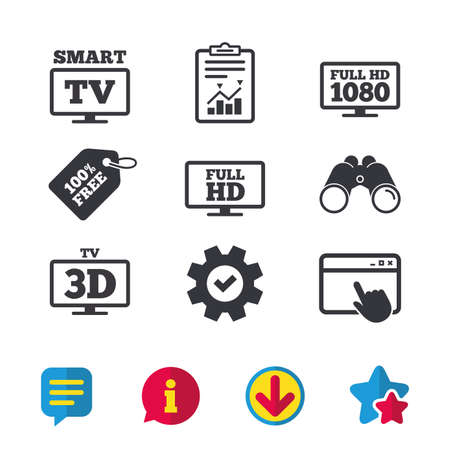 Smart TV mode icon. Widescreen symbol. Full hd 1080p resolution. 3D Television sign. Browser window, Report and Service signs. Binoculars, Information and Download icons. Stars and Chat. Vector Banco de Imagens - 81772152